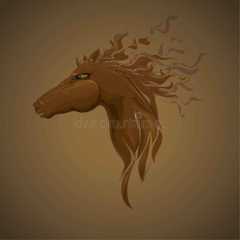 Cavalo da cabeça de Brown Vetor fresco da ilustração ilustração stock