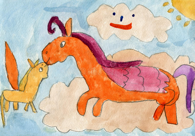 Cavalo da mãe de Pegasus que beija o seu potro ilustração stock