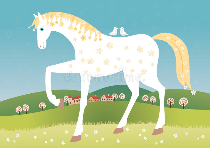 Cavalo da mola ilustração stock