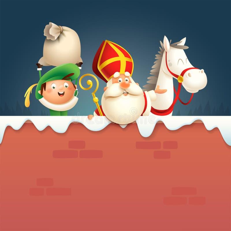 Cavalo da São Nicolau ou do Sinterklaas e ajudante Pete a bordo - os caráteres bonitos felizes comemoram o feriado holandês na pa ilustração stock