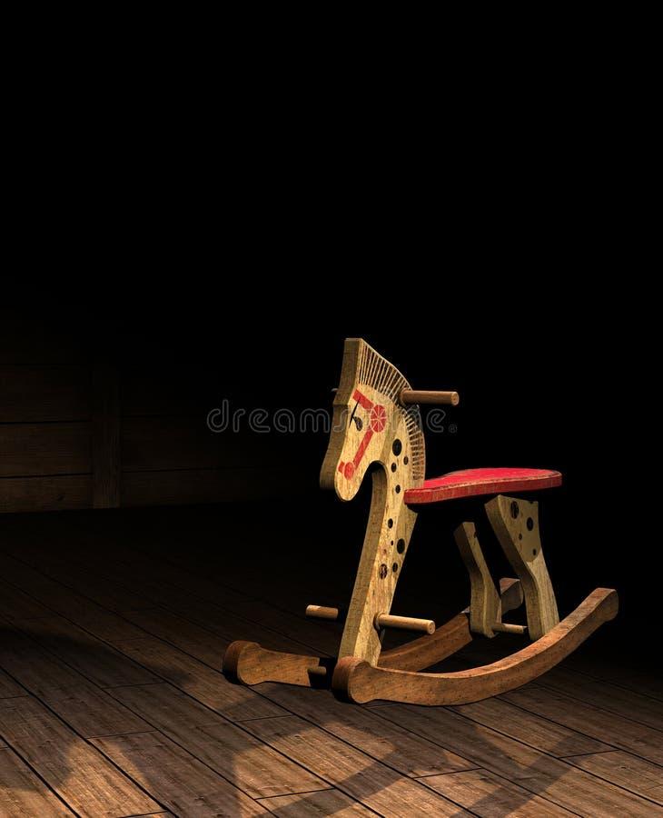 Cavalo de balanço de madeira do vintage ilustração do vetor