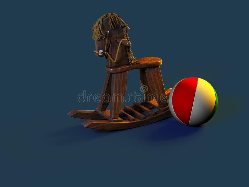 Cavalo de balanço de madeira antigo ilustração royalty free