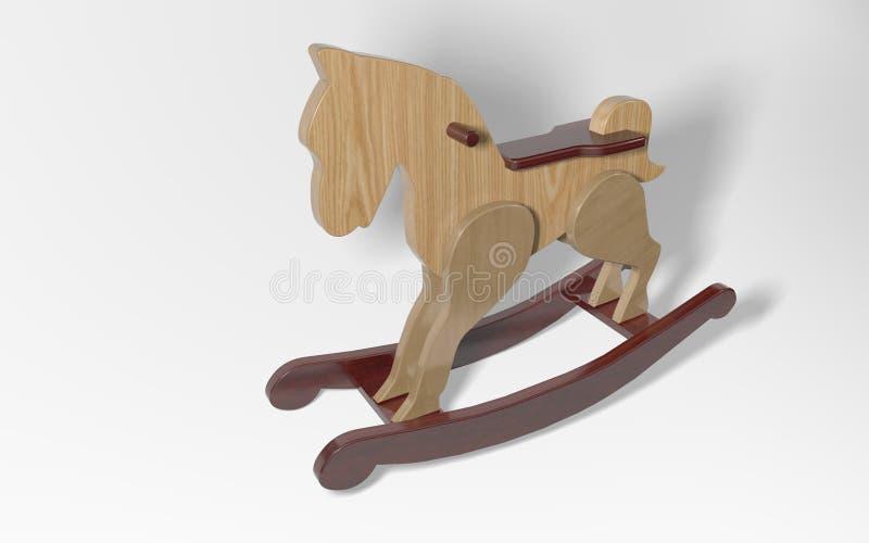 cavalo de balanço de madeira da rendição 3d ilustração do vetor