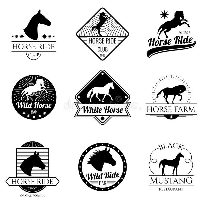 Cavalo de competência, logotipos running do vintage do vetor da égua e grupo de etiquetas ilustração royalty free