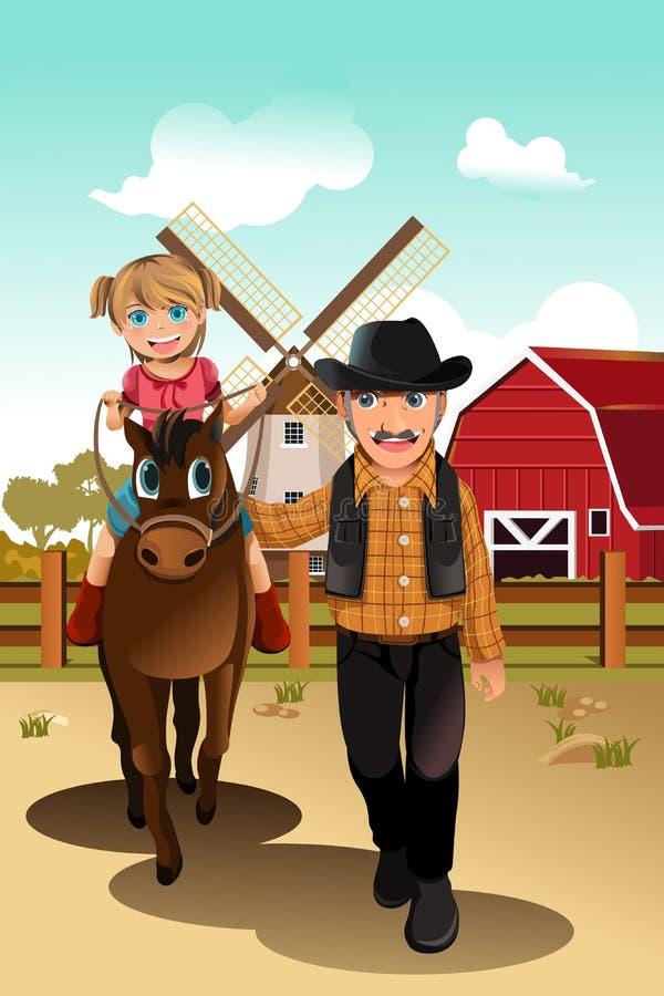 Cavalo de equitação da menina com avô ilustração do vetor