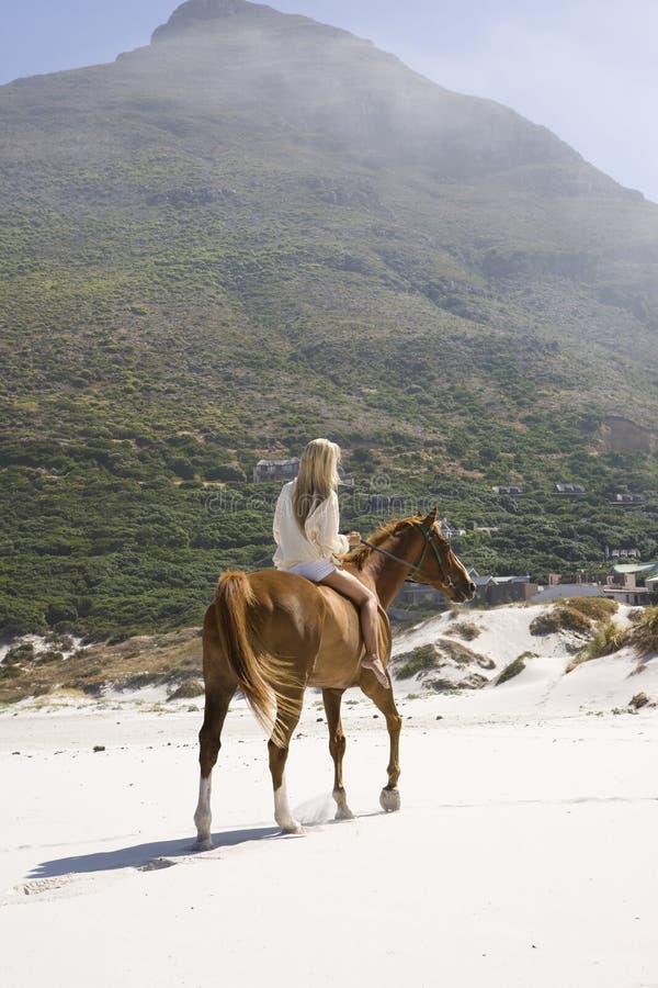 Cavalo de equitação da mulher na praia contra o monte fotos de stock