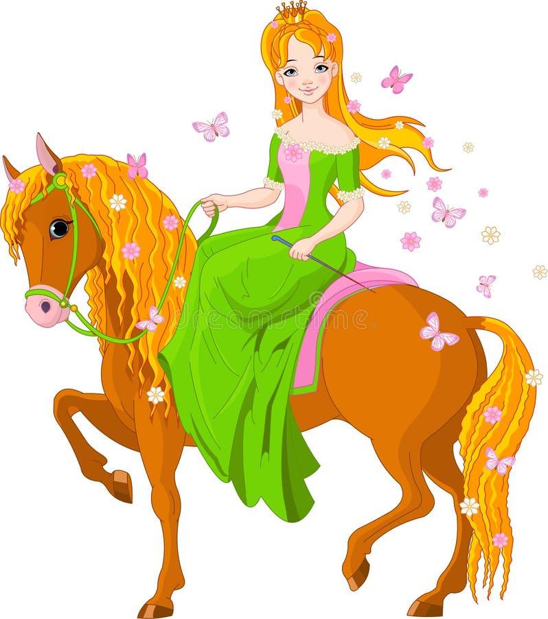 Cavalo de equitação da princesa. Mola ilustração royalty free