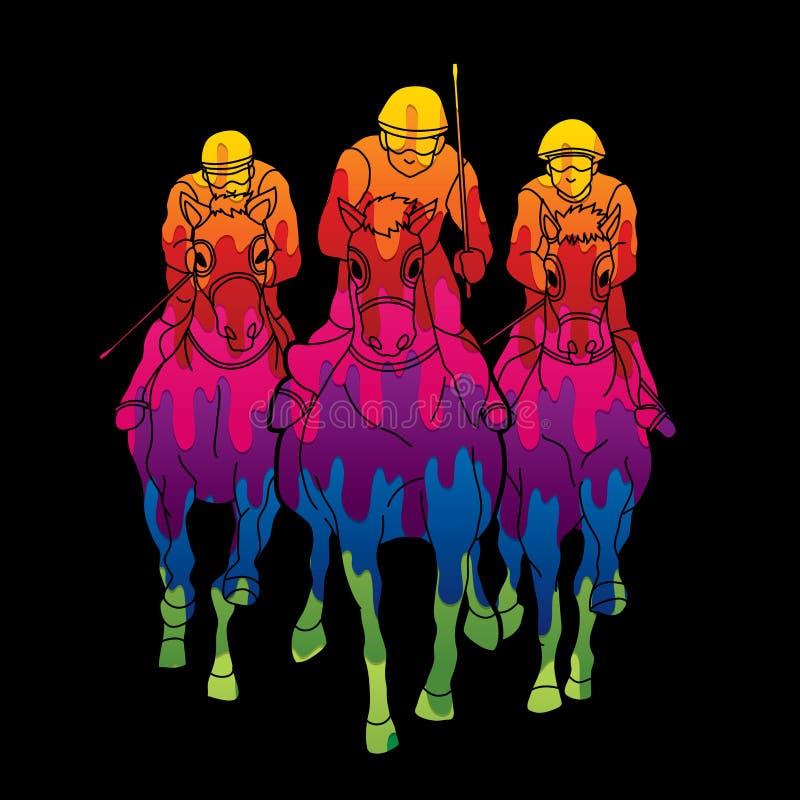 Cavalo de equitação, cavalo de raça, jóquei Equestrian ilustração royalty free