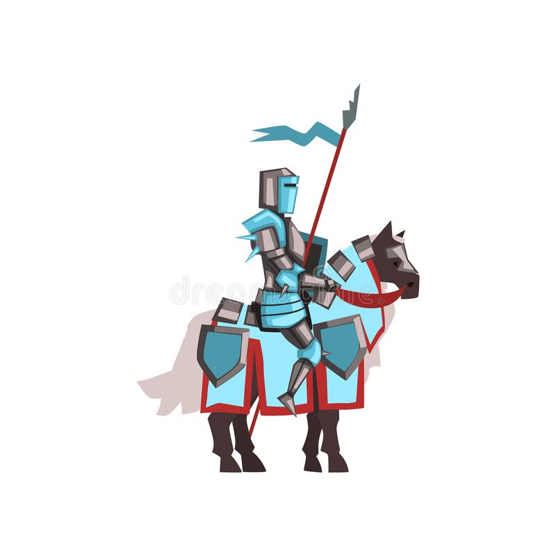 Cavalo de equitação real Valorous do cavaleiro com protetor e bandeira Guerreiro medieval na armadura brilhante Projeto liso do v ilustração royalty free