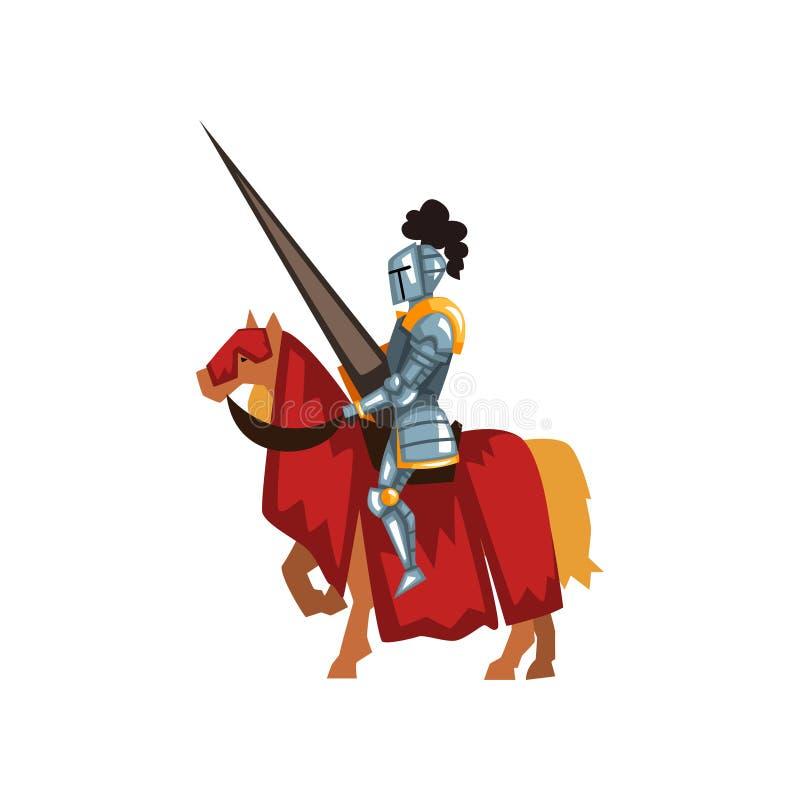 Cavalo de equitação Valorous do cavaleiro com lança à disposição Guardião real na armadura brilhante Competiam medieval dos espor ilustração stock