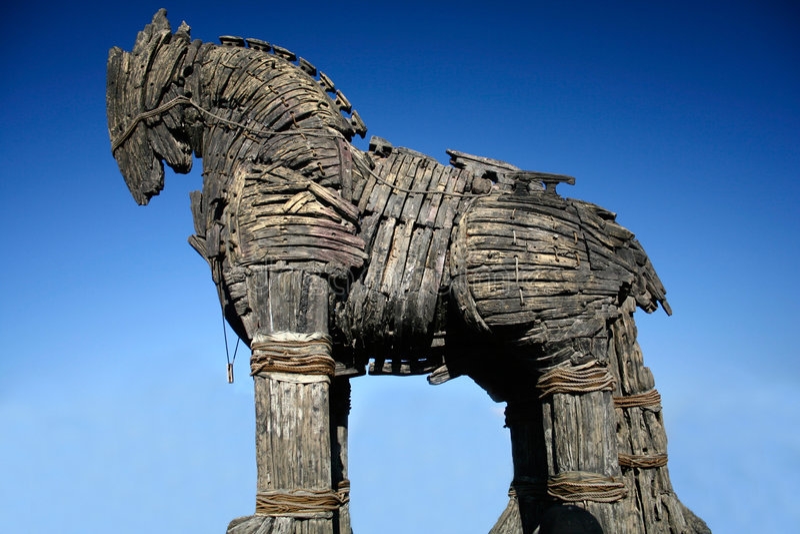 Cavalo de madeira do troya foto de stock royalty free