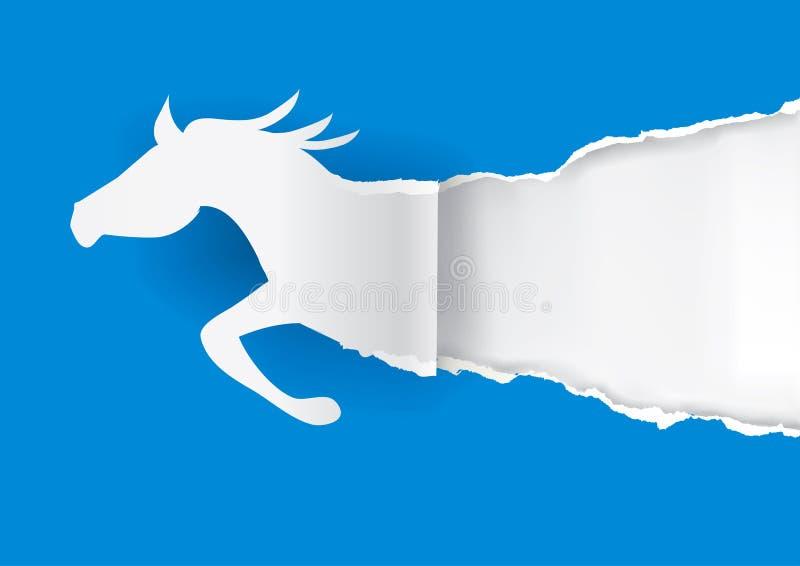 Cavalo de papel que rasga o papel ilustração do vetor