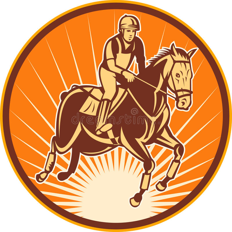 Cavalo de salto da mostra equestre ilustração do vetor
