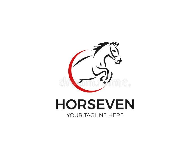 Cavalo de salto Logo Template Linha projeto animal do vetor ilustração royalty free