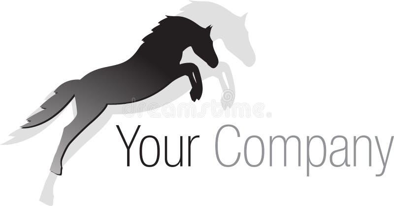 Cavalo de salto preto do logotipo ilustração do vetor