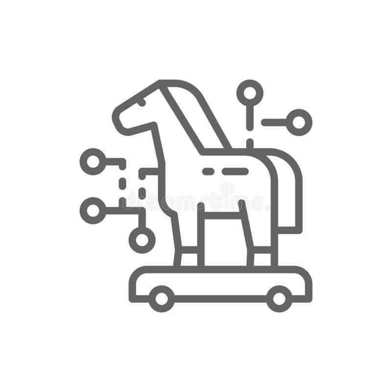 Cavalo de troia, crime do cyber, linha ?cone do v?rus ilustração stock