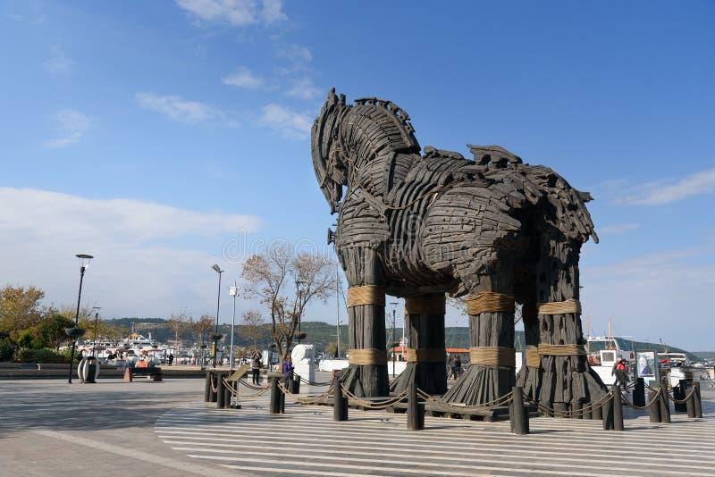 Cavalo de troia de madeira em Canakkale, Turquia foto de stock