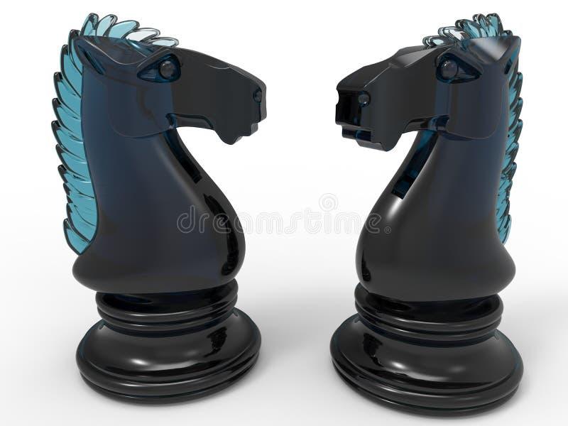 Cavalo de vidro da xadrez ilustração royalty free