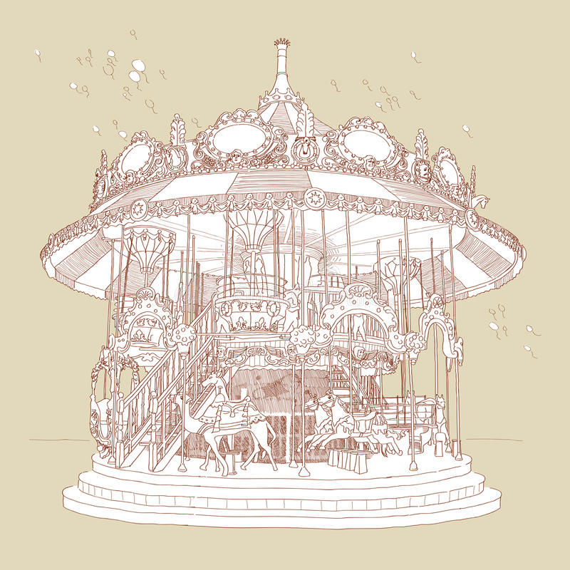 Cavalo desenhado mão do Merry-Go-Round ilustração royalty free