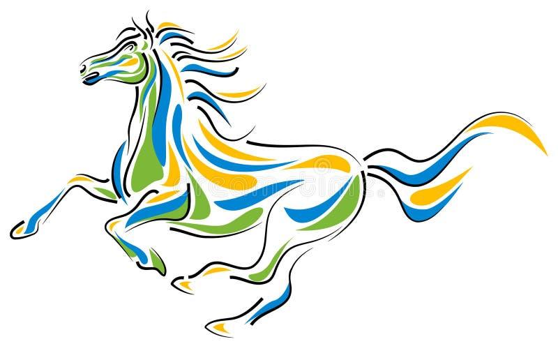 Cavalo do curso da escova ilustração stock