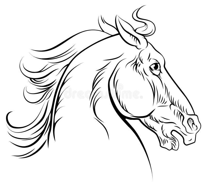 Cavalo do estilo do vintage ilustração stock