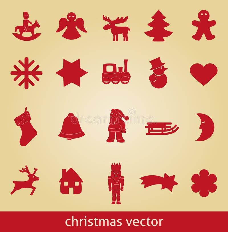 Cavalo do pão-de-espécie do anjo dos símbolos do ícone do vetor do Natal ilustração stock