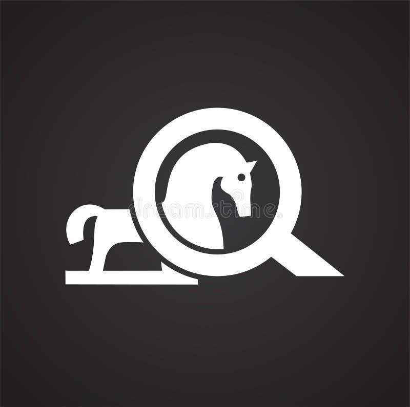 Cavalo do vírus do Trojan no fundo preto para o gráfico e o design web, sinal simples moderno do vetor Conceito do Internet Símbo ilustração royalty free