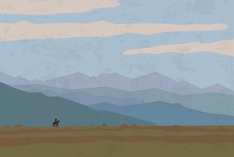 Cavalo dos cavaleiros das montanhas da natureza do curso da paisagem ilustração do vetor