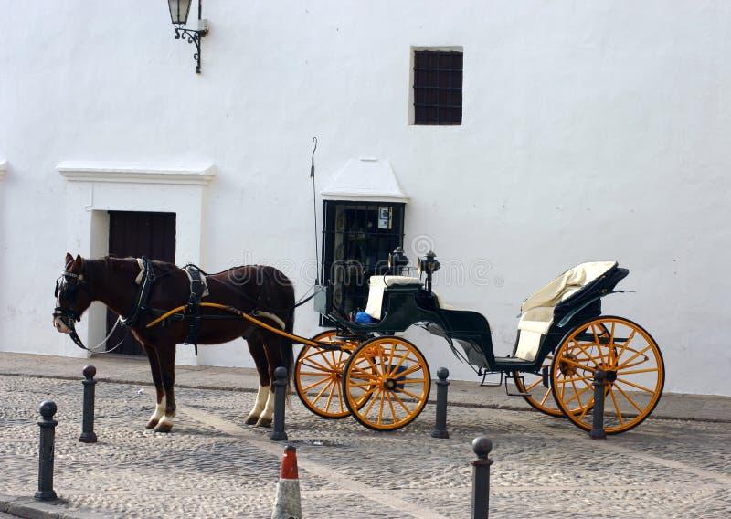 Cavalo e carro em Ronda imagem de stock royalty free