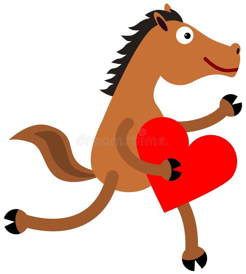 Cavalo e coração ilustração stock