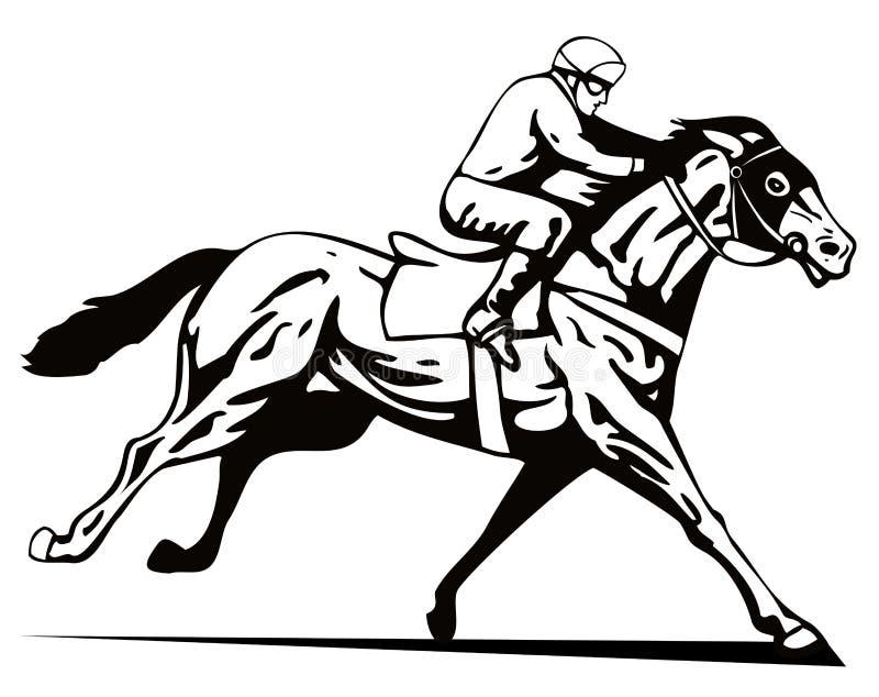 Cavalo e jóquei ilustração stock