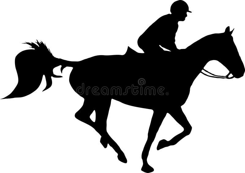 Cavalo e jóquei ilustração royalty free