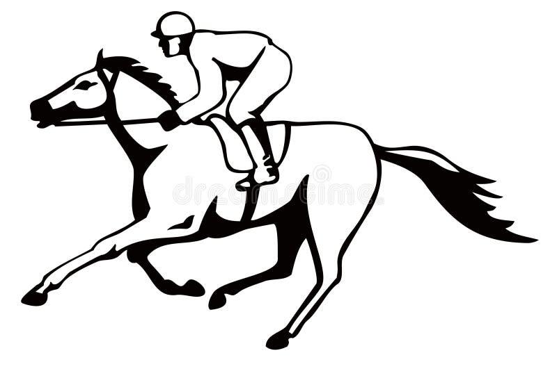 Cavalo e jóquei em um vencimento ilustração royalty free