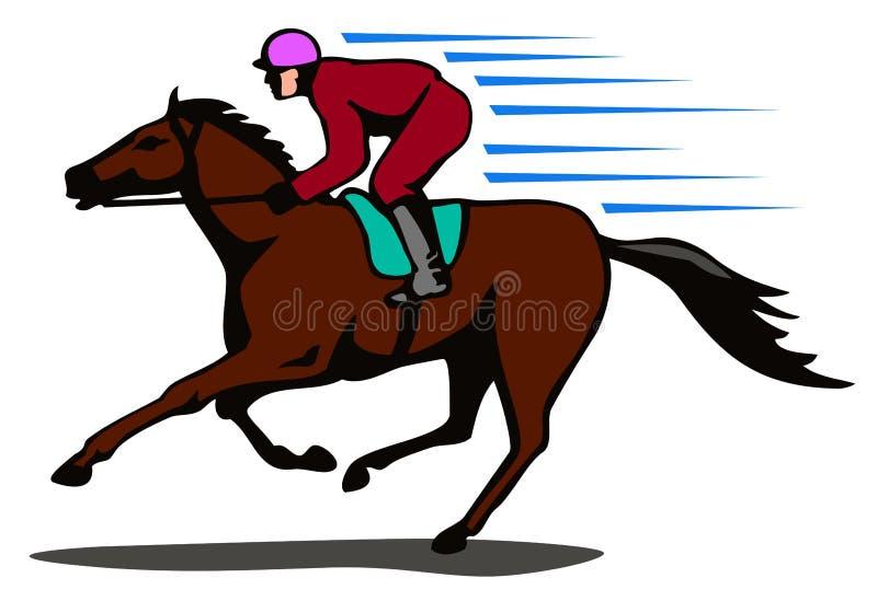 Cavalo e jóquei em um vencimento ilustração stock