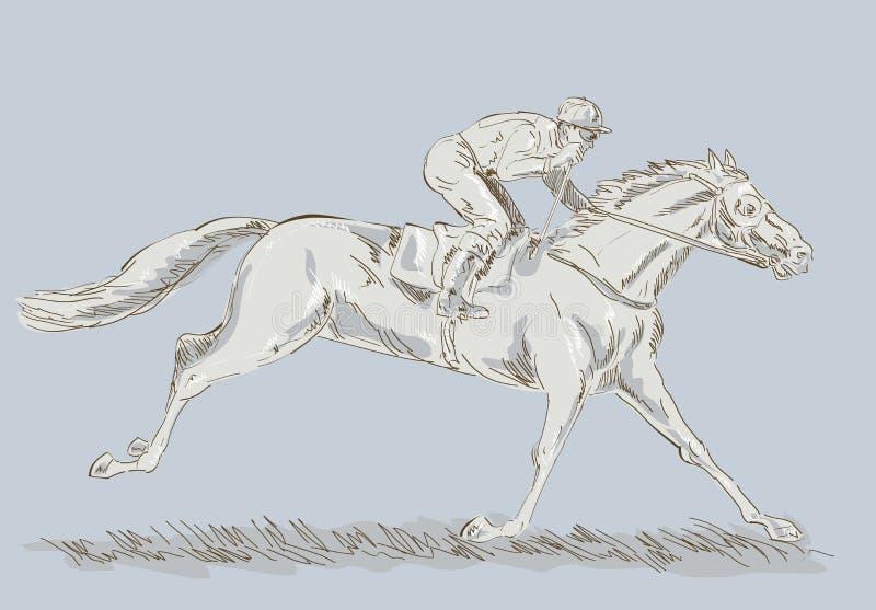 Cavalo e jóquei em uma raça ilustração do vetor
