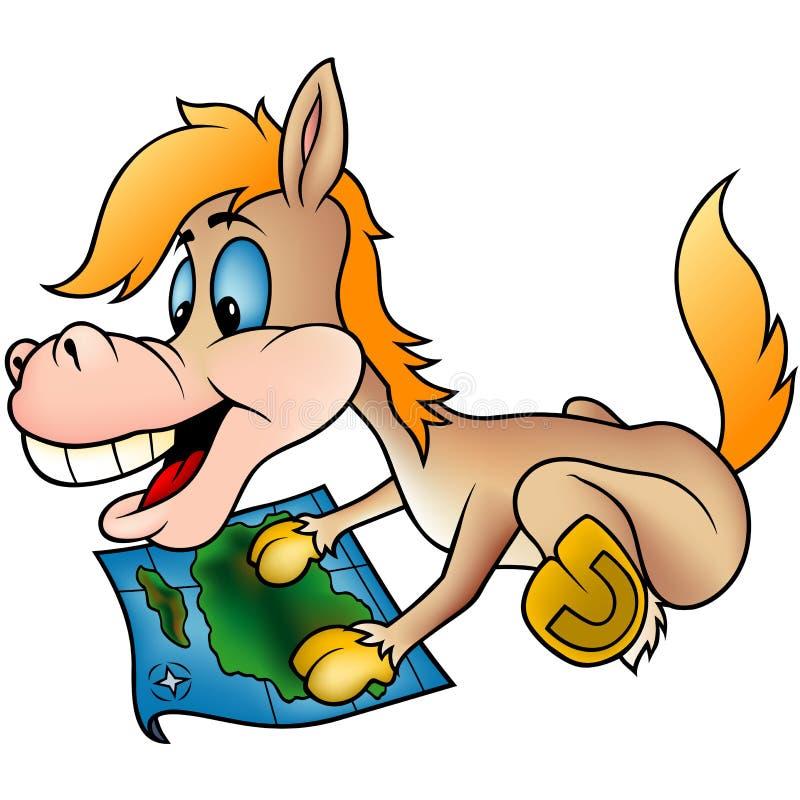 Cavalo e mapa ilustração royalty free
