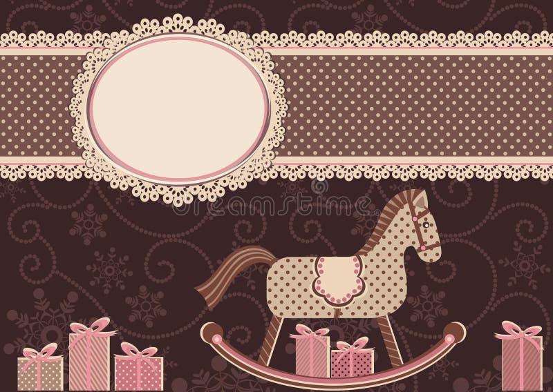 Cavalo e quadro (para seu texto) ilustração stock