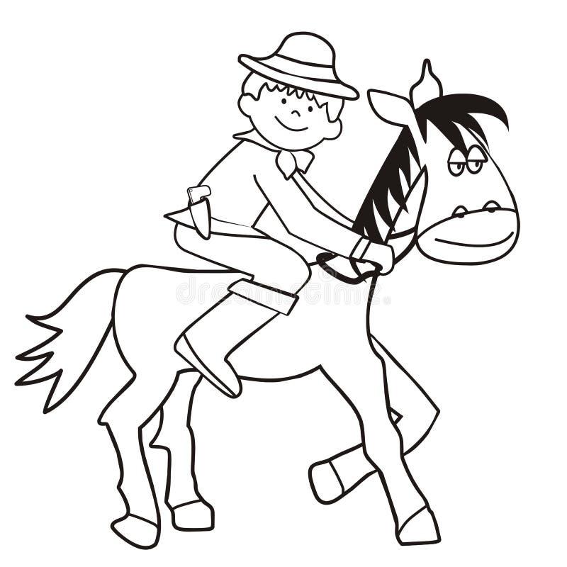 Cavalo e vaqueiro - coloração ilustração do vetor