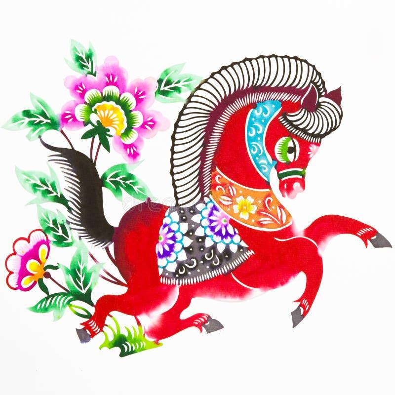 Cavalo, estaca de papel da cor. Zodíaco chinês. imagens de stock royalty free