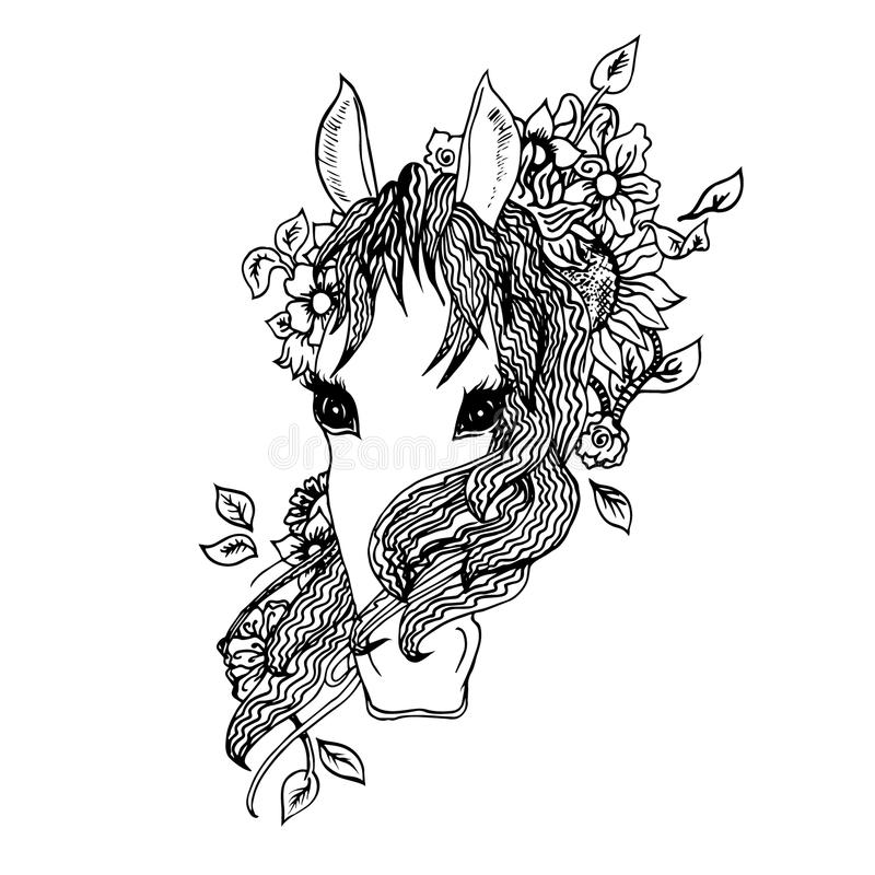 Cavalo gráfico abstrato, cópia ilustração do vetor