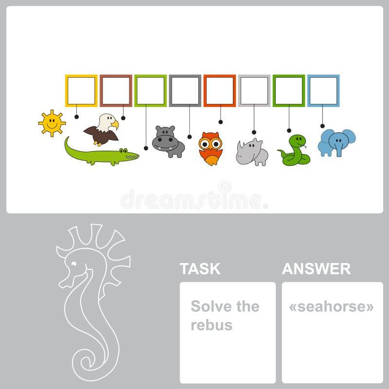 Cavalo marinho escondido achado da palavra no jogo das palavras ilustração stock