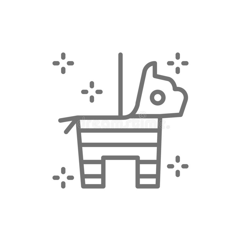 Cavalo mexicano do pinata com linha ícone dos confetes e dos doces ilustração royalty free