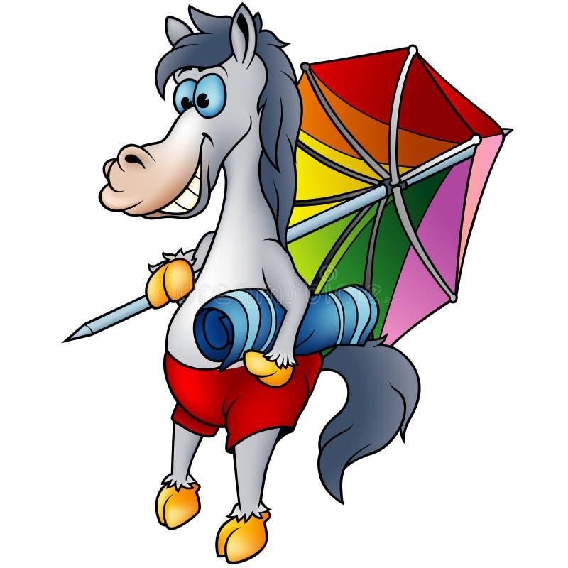 Cavalo na praia ilustração stock