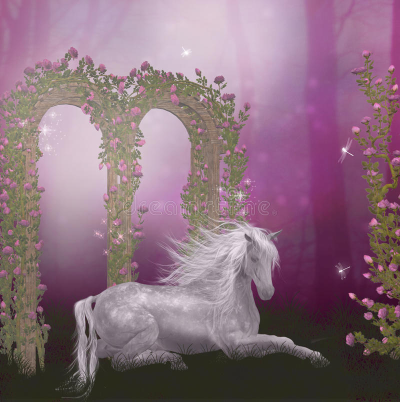 Cavalo no jardim de rosas ilustração do vetor