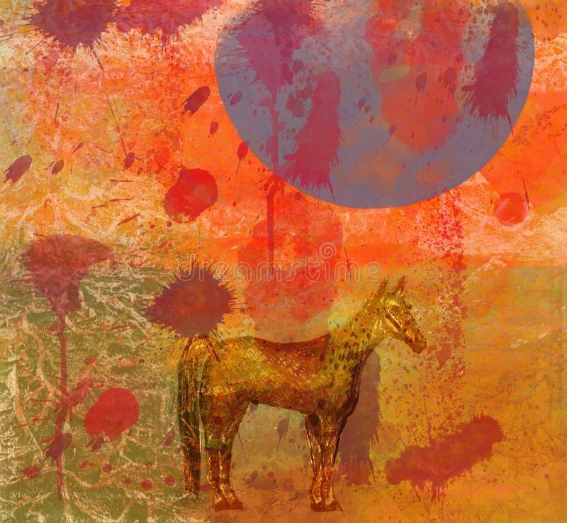 Cavalo, noite, moon.4 enorme ilustração royalty free