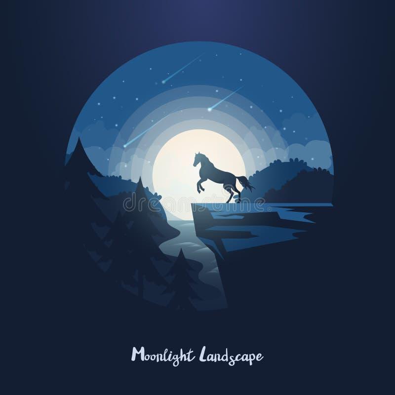 Cavalo ou equino no penhasco acima da floresta, rio ilustração royalty free