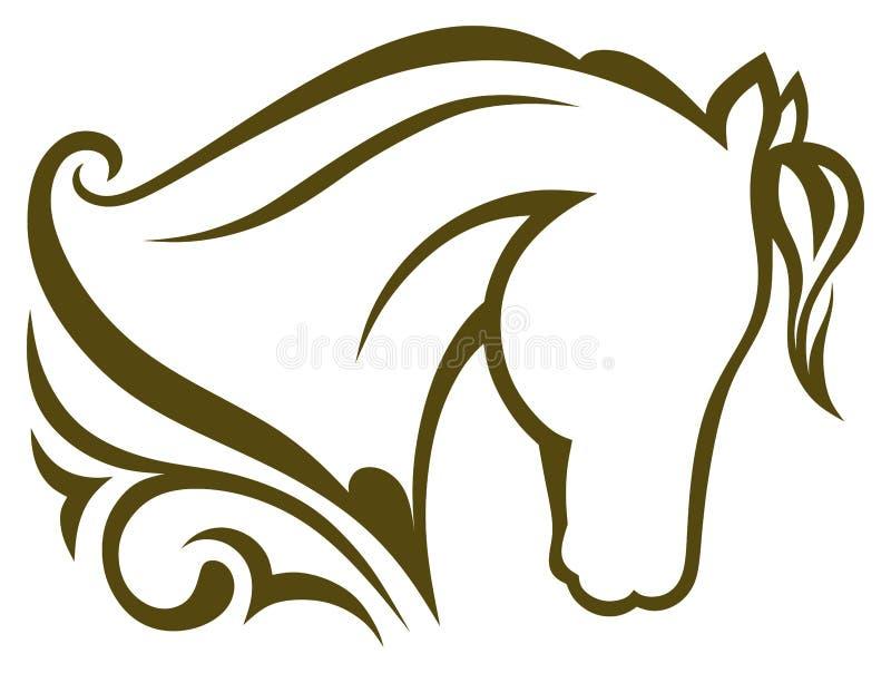 Cavalo preto da silhueta ilustração royalty free
