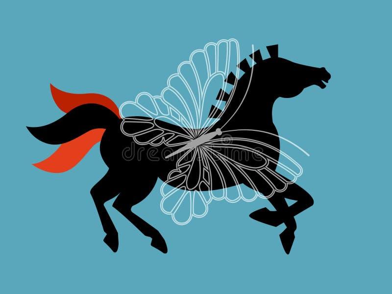 Cavalo preto do gráfico da beleza ilustração royalty free
