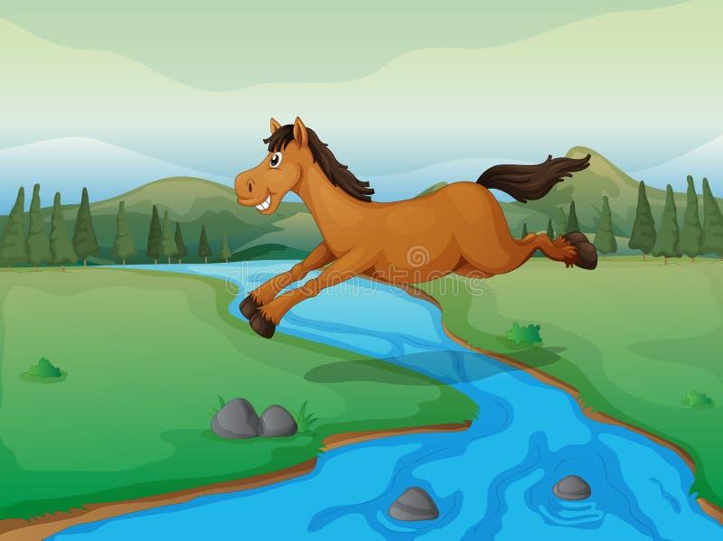Cavalo que cruza o rio ilustração do vetor