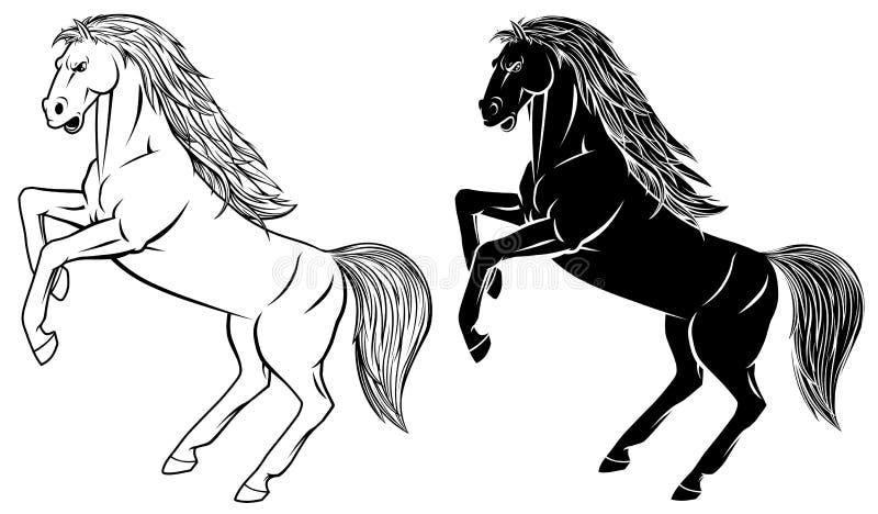 Cavalo que eleva acima ilustração stock